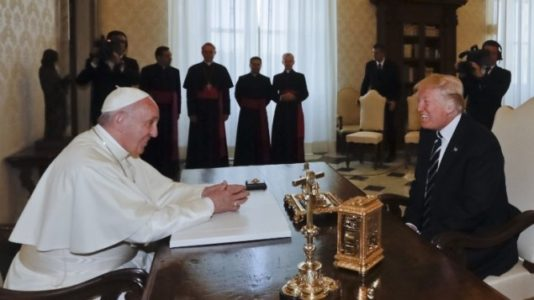 Star-struck Trump promises peace push after 'fantastic' pope meet.