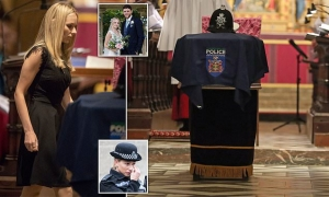 PC Andrew Harper's grieving colleagues arrive for the funeral of the 'heroic' newlywed officer, 28