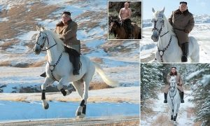 North Korean leader Kim Jong Un channels Putin as he goes for a gallop in snow