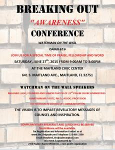 AWARENESS CONFERENCE – SATURDAY, JUNE 27TH – MAITLAND, FL