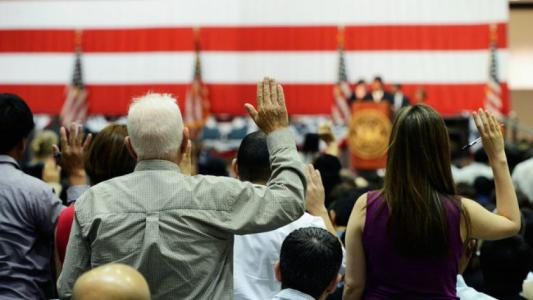 NEW CITIZENS NO LONGER HAVE TO PLEDGE TO DEFEND THE U.S.
