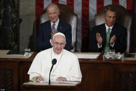 Repent! Pope Francis lectures America on gay marriage, abortion, immigration and the Syrian refugee crisis in first-ever Capitol Hill address by a sitting pontiff