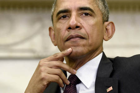 President Barack Obama listens as United Nations Secretary-General Ban Ki-moon speaks during their meeting in the Oval Office at the White House in Washington, Tuesday, Aug. 4, 2015. (AP Photo/Susan Walsh)