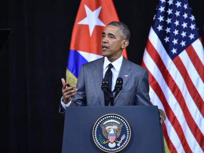 US President Barack Obama delivers a speech at the Gran Teatro de la Habana in Havana on March 22, 2016. During his address to Cubans Obama said he has come to Cuba to 'bury last remnant' of Cold War. AFP PHOTO / Nicholas KAMM / AFP / NICHOLAS KAMM (Photo credit should read NICHOLAS KAMM/AFP/Getty Images)
