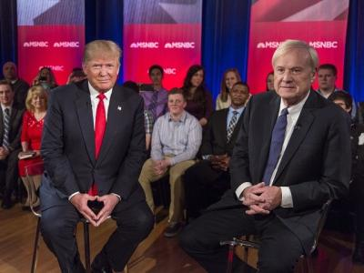 GREEN BAY, WI - MARCH 30: Presidential candidate Donald Trump films a town hall meeting for MSNBC with Chris Matthews at the Weidner Center located on the University of Wisconsin Green Bay campus on March 30, 2016 in Green Bay, Wisconsin. (Photo by Tom Lynn/Getty Images)