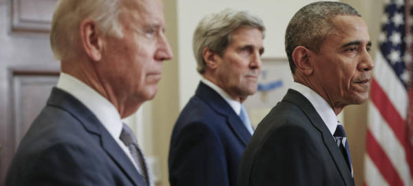 President Barack Obama, right, standing with Secretary of State John Kerry, center, and Vice President Joe Biden, left, makes a statement on the Keystone Pipeline from the Roosevelt Room at the White House in Washington, Friday, Nov. 6, 2015. The Obama administration has rejected Canadian energy giant TransCanada's application to build the Keystone XL pipeline. (AP Photo/Pablo Martinez Monsivais)