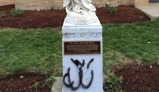 "Massachusetts: Virgin Mary statue vandalized, ""ALLAH"" painted in Arabic on its base"