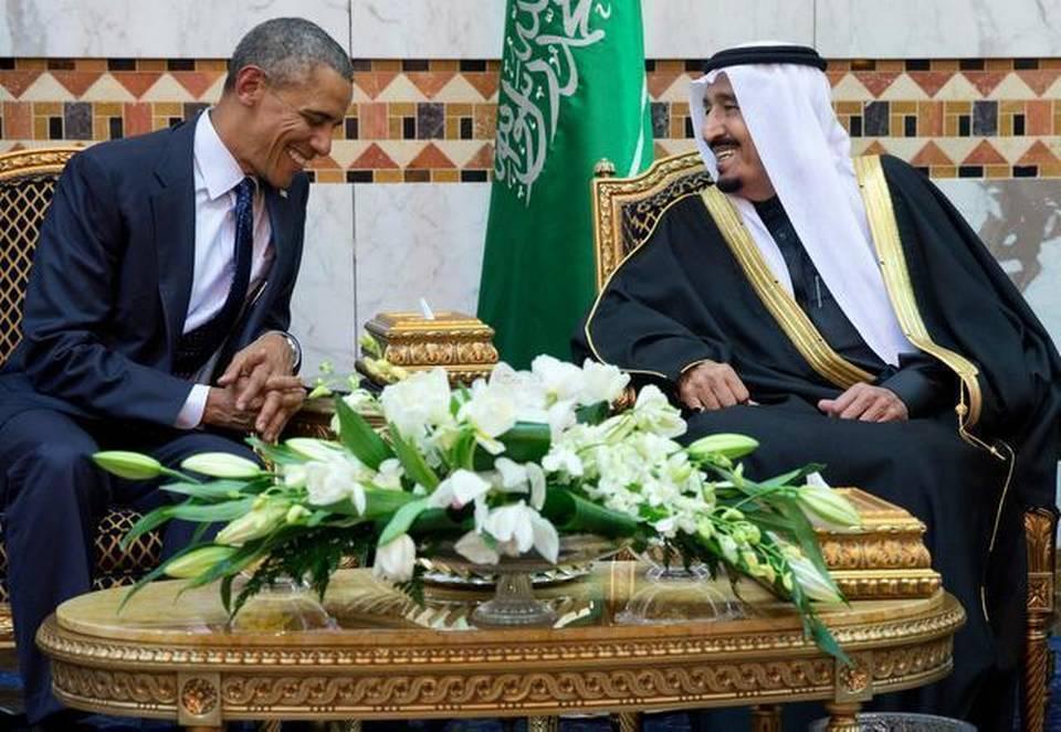 Description: President Barack Obama meets new Saudi Arabian King Salman bin Abdul Aziz in Riyadh, Saudi Arabia, Tuesday, Jan. 27, 2015.