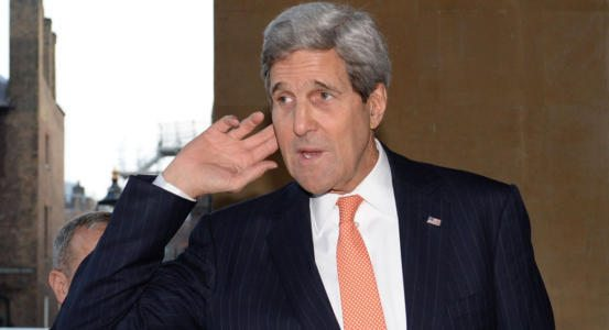 US Secretary of State John Kerry arrives to attend a meeting with members of an anti-Islamic State coalition (IS) at Lancaster House in London January 22, 2015. Top officials from 21 countries kicked off talks in London on January 22 on pushing back Islamic State militants in Iraq and Syria and tackling the growing threat of homegrown jihadists in Europe. AFP PHOTO / POOL / STEFAN ROUSSEAU (Photo credit should read STEFAN ROUSSEAU/AFP/Getty Images)
