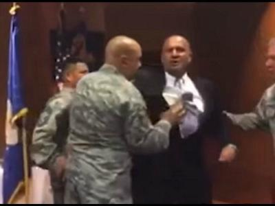 VETERAN FORCIBLY DRAGGED FROM AIR FORCE CEREMONY FOR MENTIONING GOD – VIDEO