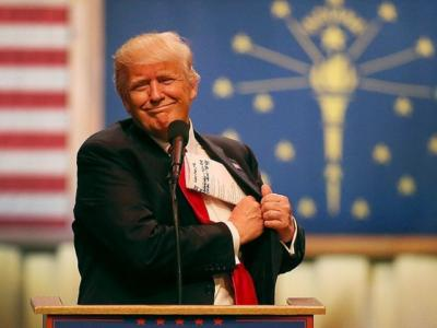 CARMEL, IN - MAY 02: Republican presidential candidate Donald Trump speaks during a campaign stop at the Palladium at the Center for the Performing ArtsÊon May 2, 2016 in Carmel, Indiana. Trump continues to campaign leading up to the state of Indiana's primary day on Tuesday. (Photo by Joe Raedle/Getty Images)