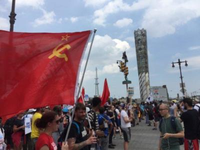 DNC Convention 2016: Soviet Flags, Palestinian Flag – BUT NO US FLAGS