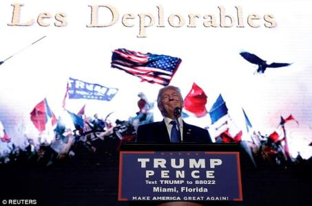'LES DEPLORABLES!' Trump floors cheering Miami crowd as he enters to Broadway anthem and speaks in front of giant 'Les Mis' video screen art