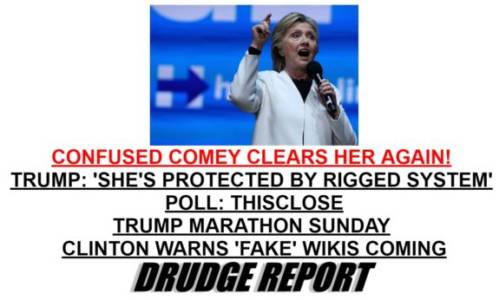 It's Rigged => FBI Director Comey Clears Hillary a Second Time