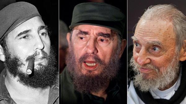 De izquierda a derecha: Fidel Castro en 1961, 2000 y 2016 (AP)