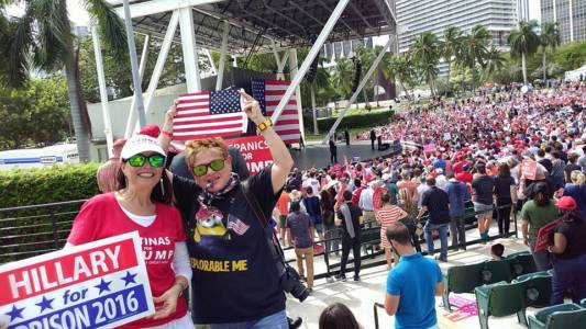 Trump's  Rally At The Bayfront Park in Miami Attracts Cuban-American Exiles
