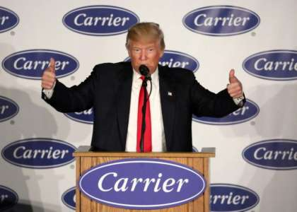 Donald Trump at Carrier: Companies Won't Leave United States Without Consequences