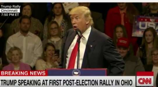 "HAH! Trump Calls for Unity at Victory Rally, Crowd Chants ""Lock Her Up!"" (VIDEO)"
