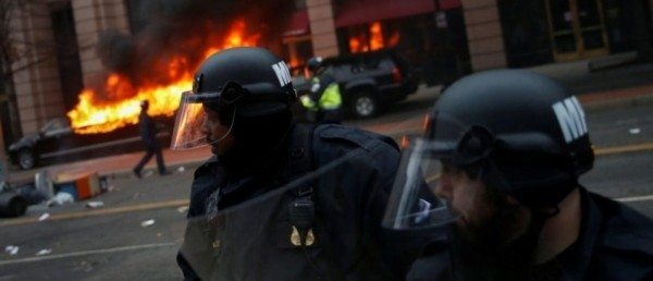 Watch Anti-Trump Rioters Clash With Police, Destroy Property