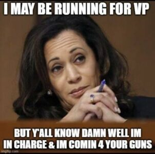 Image may contain: 1 person, meme, text that says 'I MAY BE RUNNING FOR VP BUT Y'ALL KNOW DAMN WELL IM IN CHARGE & IM COMIN 4 YOUR GUNS imgflip.'