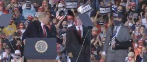 Trump Brings High School Football Players Who Carried Thin Blue Line Flag On Stage, Crowd Chants 'USA! USA! USA!'