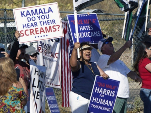 'Do You Hear Their Screams?' Protesters Ask During Harris' Border Visit