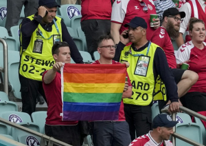 Security Grab LGBT Flag from Danish Fans at Euro Tournament Match in Azerbaijan