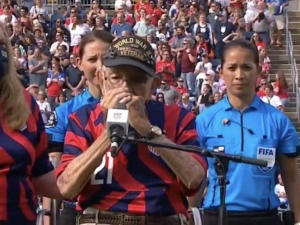 WATCH: Members of U.S. Women's Soccer Team Turn Away from the Flag as WWII Vet Plays Anthem