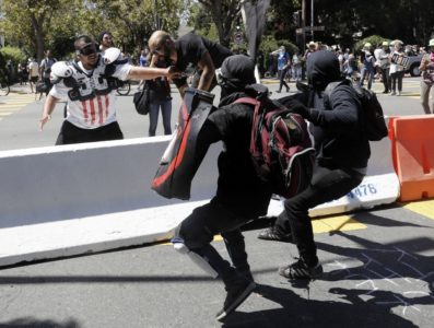 Black-clad Antifa Members Attack Peaceful Right-Wing Demonstrators In Berkeley