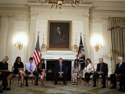 Donald Trump Hosts Emotional Listening Session on School Shootings with Parents and Students.