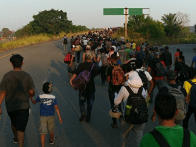 Caravan of 1,500 Central American Migrant Families Crossing Mexico to Reach U.S. Border.