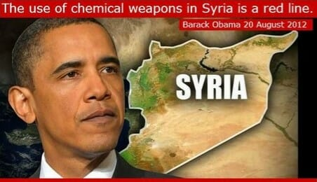 President Trump Takes Swipe at Barack Obama and His Fake Red Line in the Syrian Sand.