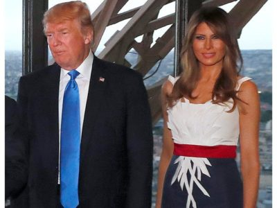 Melania Custom Red-White-and-Blue Frock in Paris