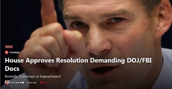 House Approves Resolution Demanding DOJ/FBI Docs