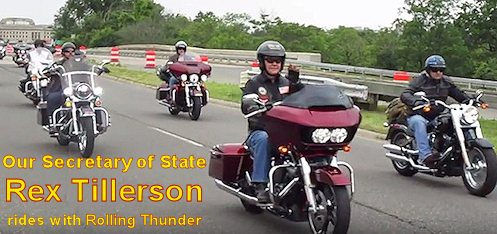 WATCH: Rex Tillerson Rides with Rolling Thunder to Honor U.S. Military on Memorial Day.