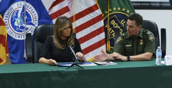 Melania Trump Holds Roundtable at Border Detention Facility in Arizona.
