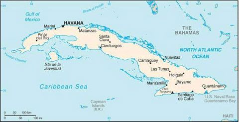 Date: 01/27/2009 Description: Map of Cuba. State Dept Photo