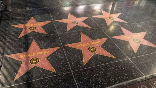 After Being Destroyed, Trump's Walk of Fame Star Multiplies.
