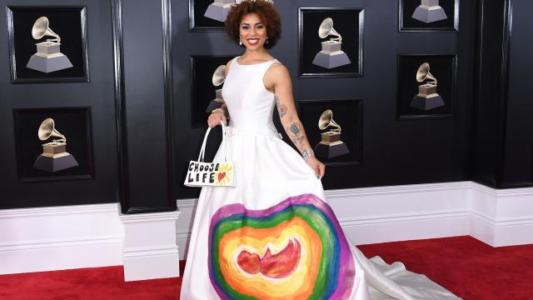 Trump supporter wears anti-abortion dress to Grammys.