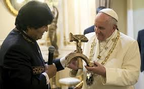 "Image result for ""picture of Evo Morales gave Pope Francis a cross with a hammer and a sickle"