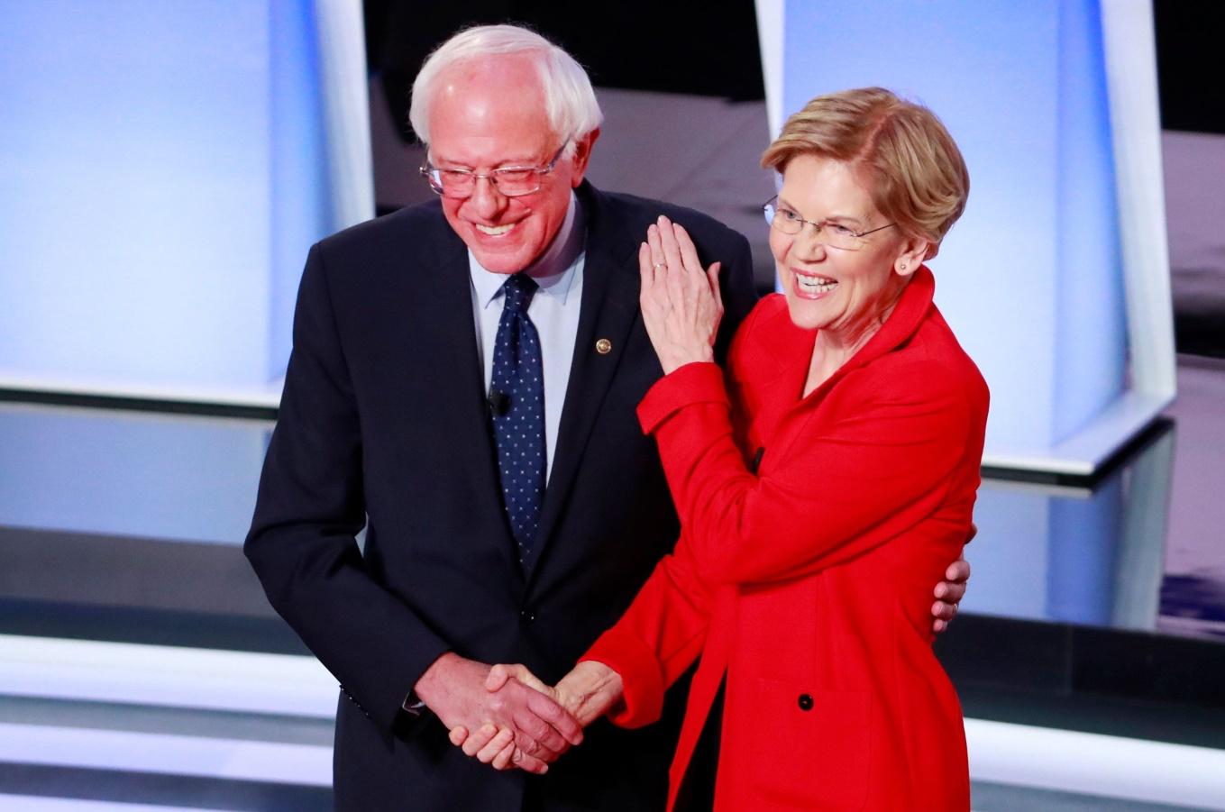 Image result for pictures of Senator Warren and Senator Sanders