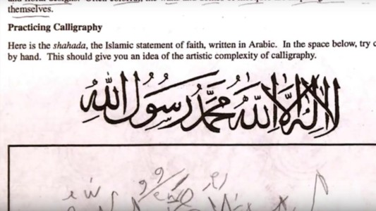 Outrage after school tells kids to write Islamic faith declaration. This isn't even the beginning.