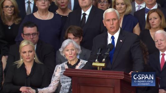 Mike Pence Honors Senator John McCain At Special Capitol Service.