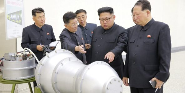 North Korean leader Kim Jong Un reportedly discussing nuclear weapons in this undated photo released by North Korea's Korean Central News Agency on Saturday.