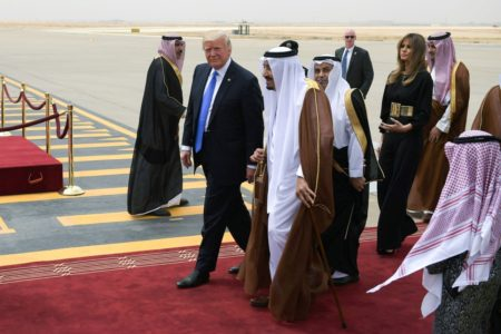 President Donald Trump was welcomed by King Salman bin Abdulaziz Al Saud in Riyadh on Saturday.