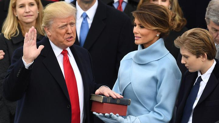 President-elect Donald Trump is sworn in as President on January 20, 2017 at the US Capitol in Washington, DC.