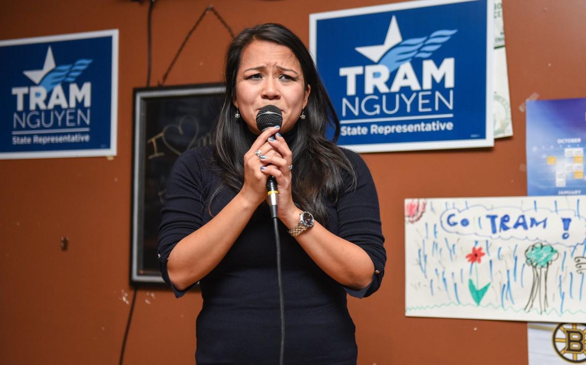 Tram Nguyen speaks to supporters