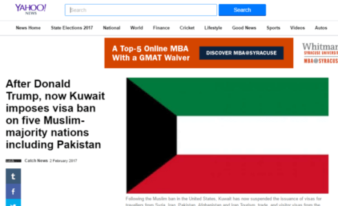 KUWAIT FOLLOWS TRUMP'S LEAD; IMPOSES VISA BAN ON MUSLIM COUNTRIES